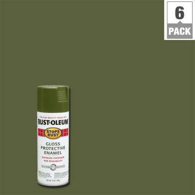 12 oz. Protective Enamel Gloss Army Green Spray Paint (6-Pack)
