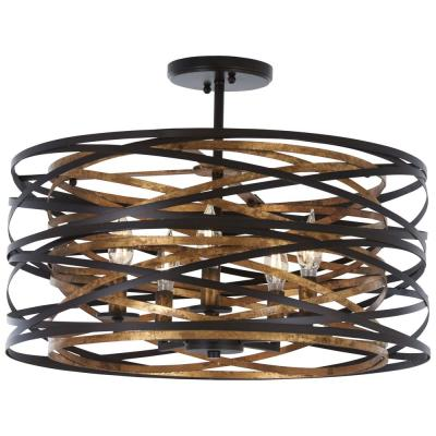 Vortic Flow 5-Light Dark Bronze with Mosaic Gold Interior Convertible Semi-Flush Mount