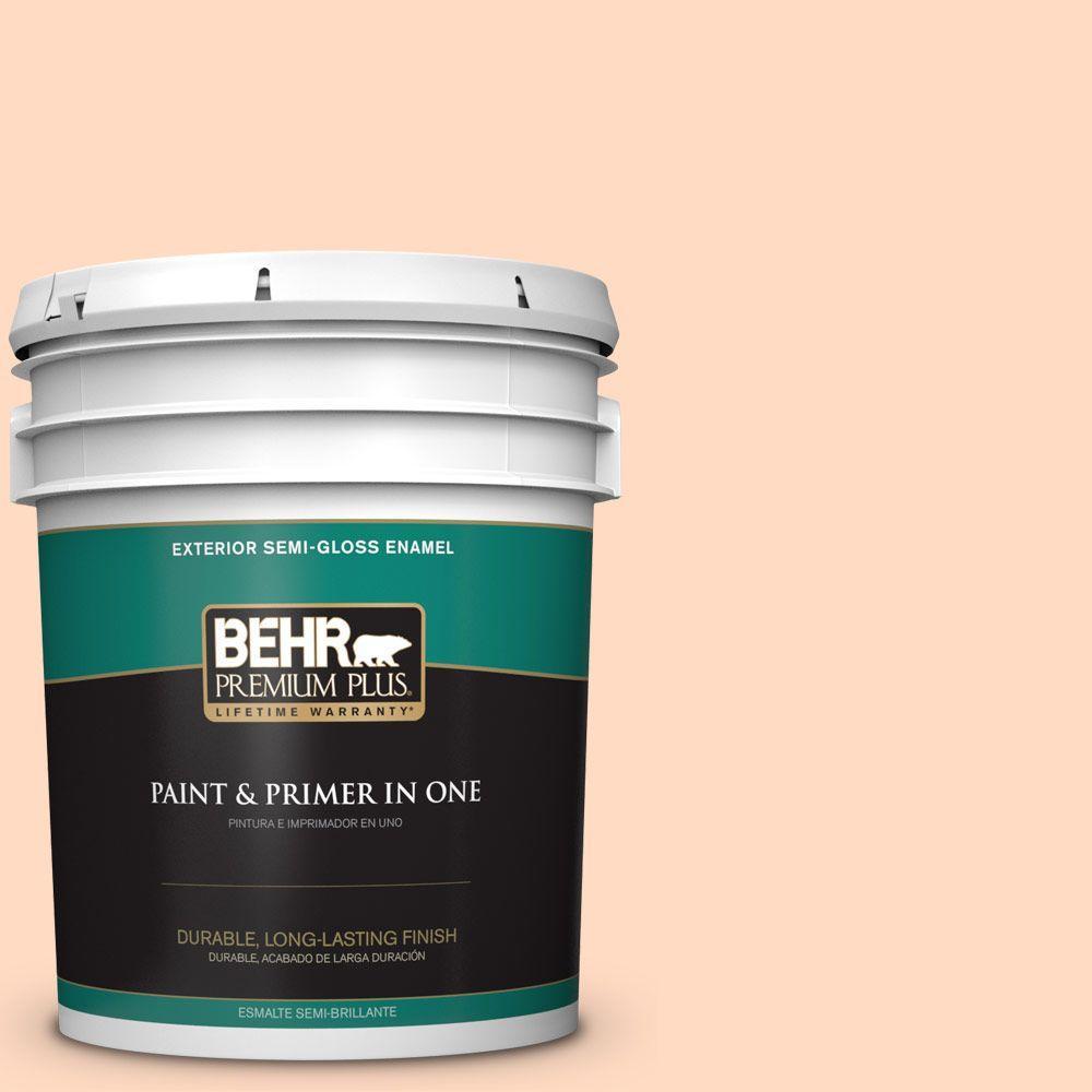 BEHR Premium Plus 5-gal. #250A-3 Whispering Peach Semi-Gloss Enamel Exterior Paint