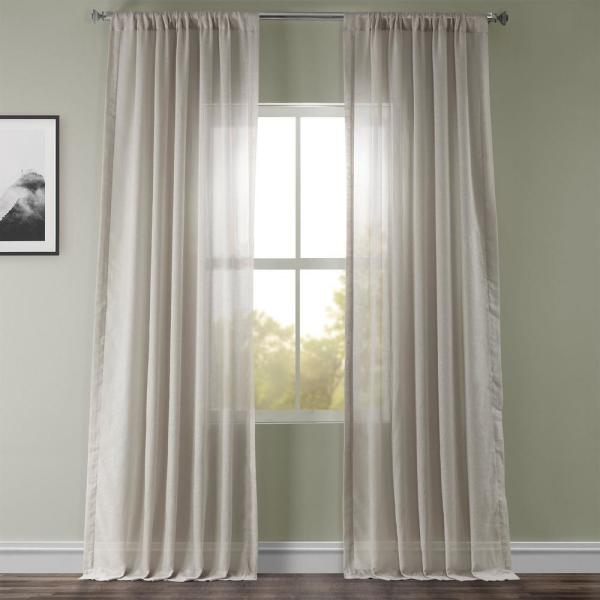 Tumbleweed Beige Faux Linen Sheer Curtain - 50 in. W x 108 in. L