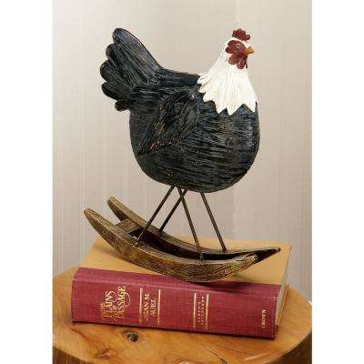 Rounded Polystone Chicken Sculpture on Curved Rocker