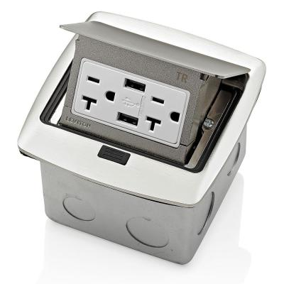 Pop-Up Floor Box with Dual Type A, 3.6 Amp USB Charger, 20Amp Outlet, Brushed Nickel