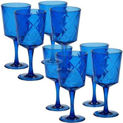 8-Piece 13 oz. Cobalt Blue Acrylic Goblet Glass