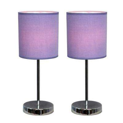 Attractive Chrome Mini Basic Table Lamps With Purple Fabric Shades (2 Pack
