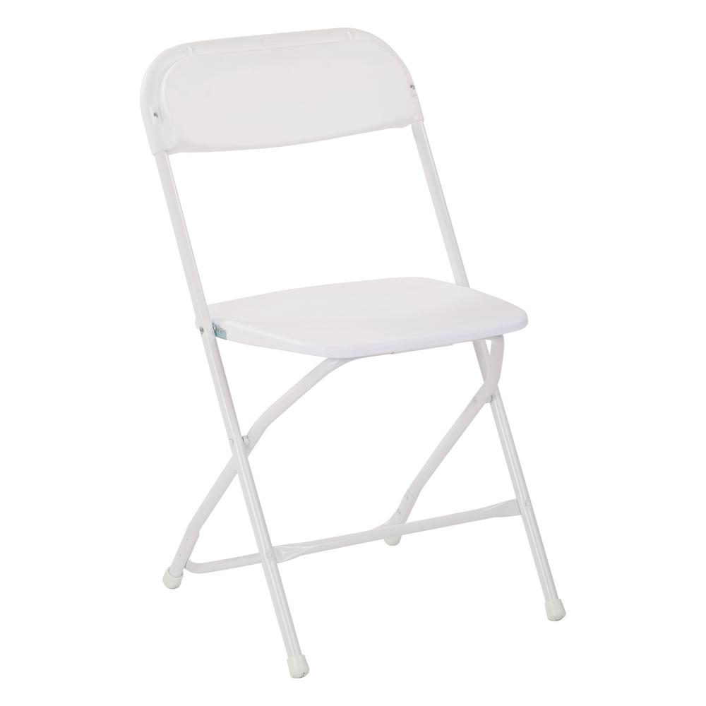 Office Star Products White Plastic Seat Metal Frame Outdoor Safe Folding Chair (Set of 4)