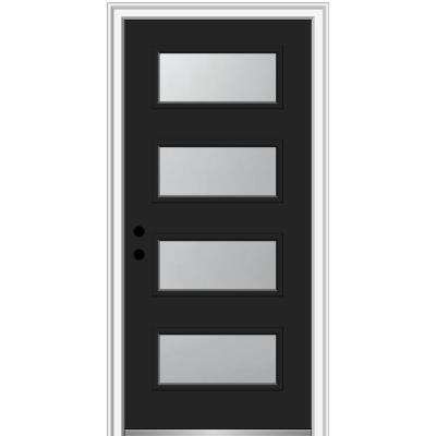 36 in. x 80 in. Celeste Right-Hand Inswing 4-Lite Frosted Glass Painted Steel Prehung Front Door on 6-9/16 in. Frame