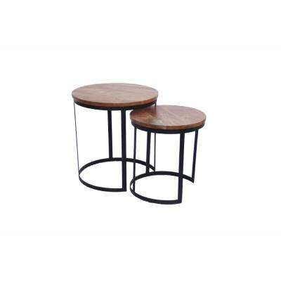 Voguish Wood Natural Finish Round Iron Nesting Table (Set of 2)