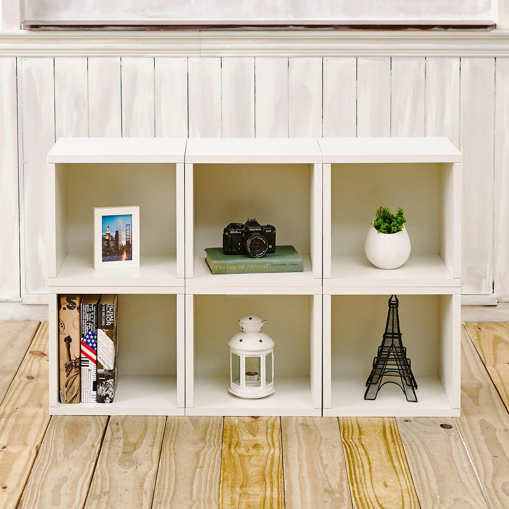 Way Basics Barcelona 6 Cubes zBoard  Stackable Modular Storage Cubby Organizer, Tool-Free Assembly Storage in Pearl White