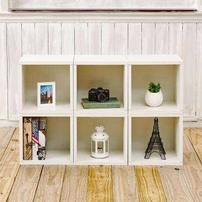 Barcelona 6-Cubes zBoard Stackable Modular Storage Cubby Organizer, Tool-Free Assembly Storage in Pearl White