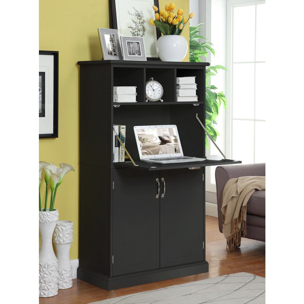 Amelia Storage Black Wooden Secretary Desk