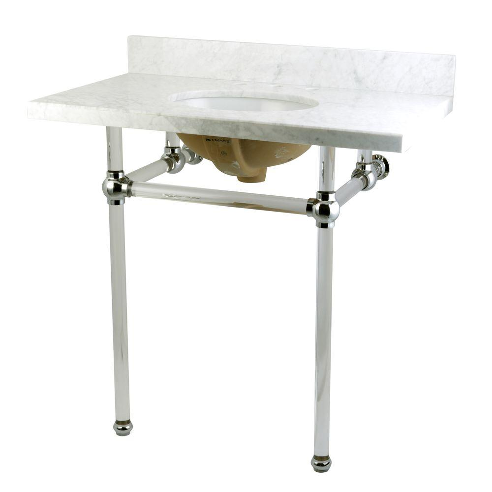 Washstand 36 in. Console Table in Carrara White with Acrylic Legs