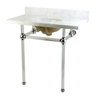 Washstand 36 in. Console Table in Carrara White with Acrylic Legs and Connectors in Polished Chrome