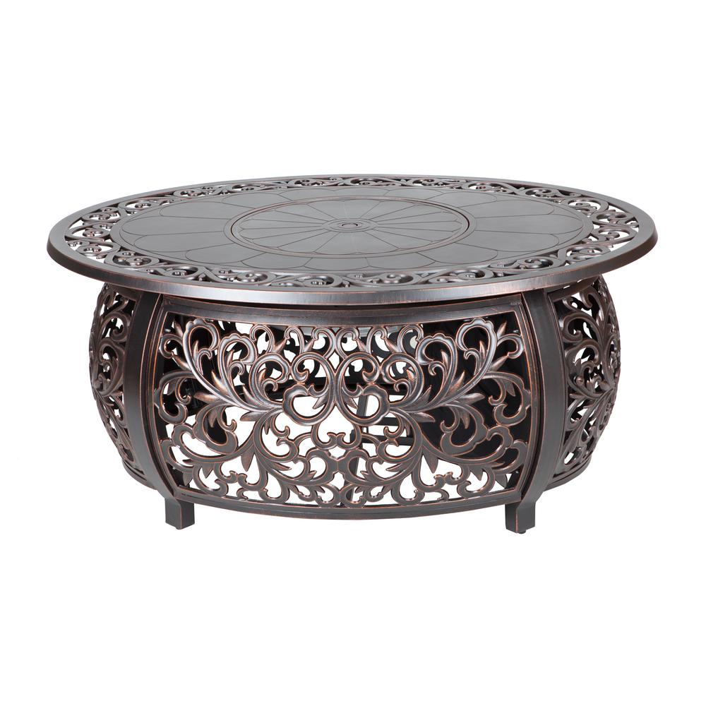 Fire Sense In X In Toulon Oval Cast Aluminum LPG Fire Pit - Cast aluminum gas fire pit table