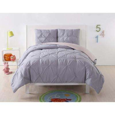 Pleated Lavender and Blush Twin XL Duvet Set