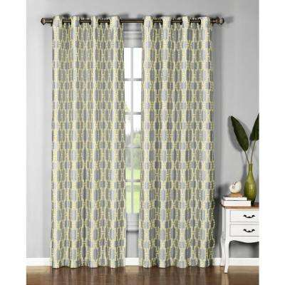 Semi-Opaque Wesley 54 in. W x 96 in. L Faux Silk Grommet Extra Wide Curtain Panel in Yellow