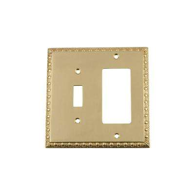 Egg and Dart Switch Plate with Toggle and Rocker in Polished Brass