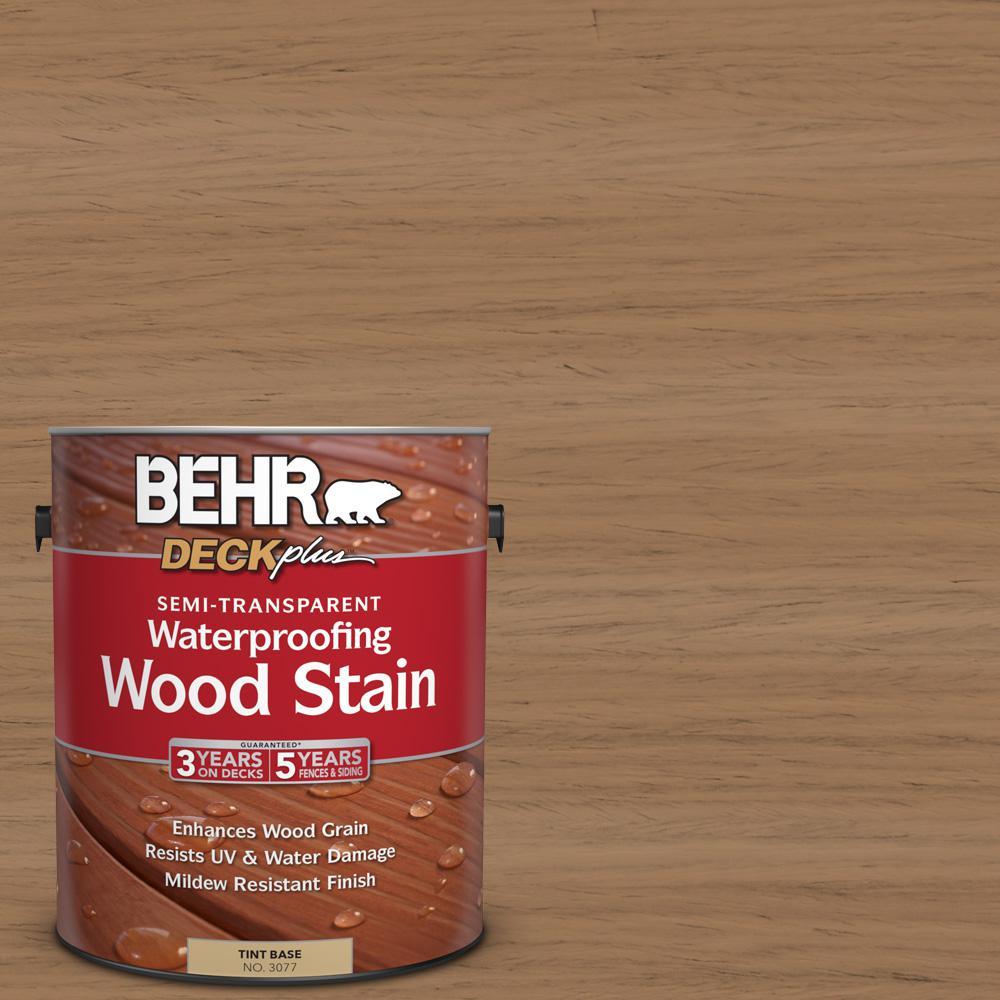 BEHR DECKplus 1 gal. #ST-158 Golden Beige Semi-Transparent Waterproofing Wood Stain