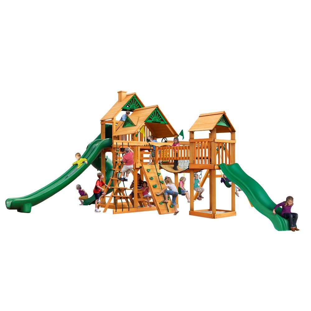 Treasure Trove II Wooden Swing Set with 3 Slides and Clatter Bridge