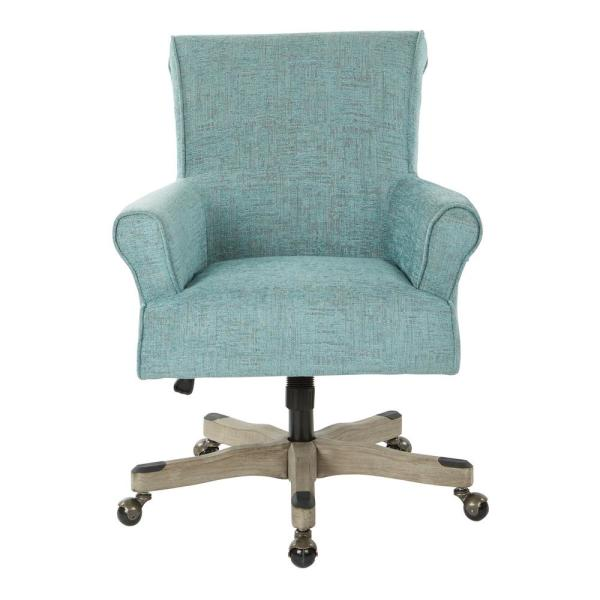 Osp Home Furnishings Megan Turquoise Fabric Office Chair With Grey Wash Wood Megsa Mc5 The Home Depot