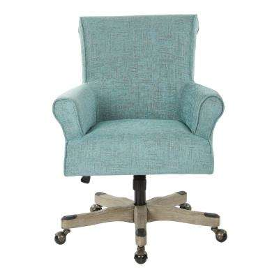 Megan Turquoise Fabric Office Chair with Grey Wash Wood