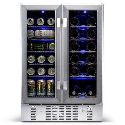 Dual Zone 24 in. Built-In 18-Bottle and 58 Can Wine and Beverage Cooler Fridge with French Doors - Stainless Steel