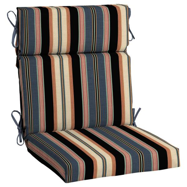 Hampton Bay 21 5 In X 24 In Bradley Stripe High Back Outdoor Chair Cushion 2 Pack Tj1z216b D9d2 The Home Depot