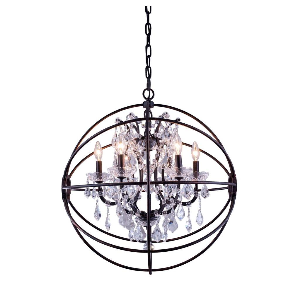 Elegant lighting geneva 6 light dark bronze chandelier with clear elegant lighting geneva 6 light dark bronze chandelier with clear crystal arubaitofo Choice Image