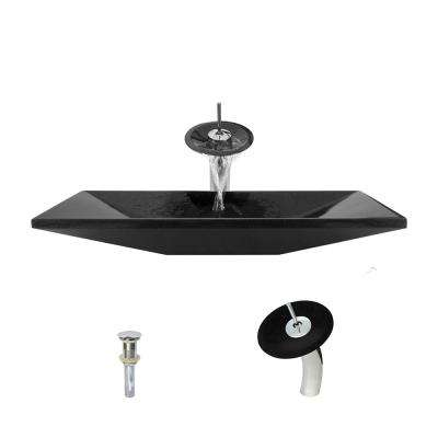Stone Vessel Sink in Shanxi Black Granite with Waterfall Faucet and Pop-Up Drain in Chrome