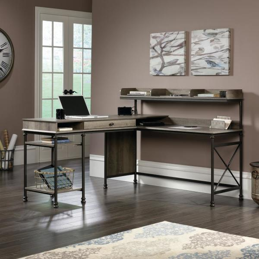 SAUDER Canal Street Northern Oak L-Shaped Desk 420509