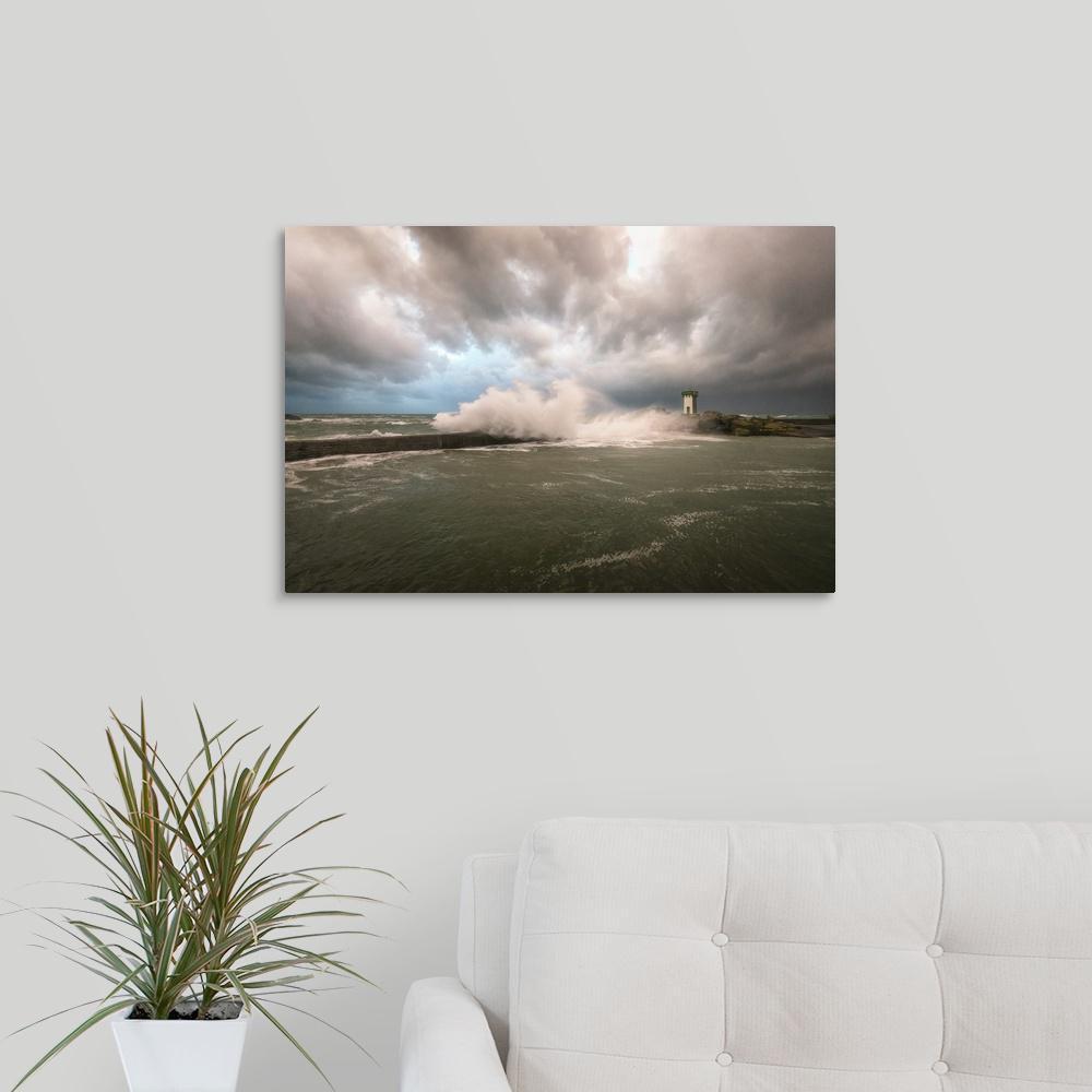 GreatBigCanvas ''Bretagne, Sea Wall'' by Philippe Manguin Canvas Wall Art