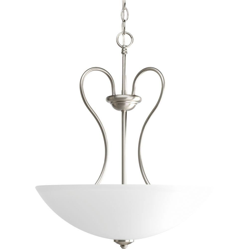 Progress Lighting Heart Collection 3-Light Brushed Nickel Foyer Pendant with Etched Glass Shades