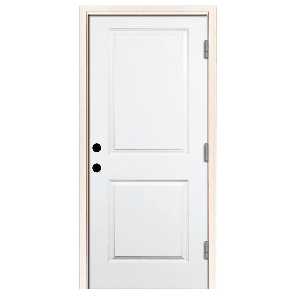 36 in. x 80 in. Premium 2-Panel Square Primed White Steel