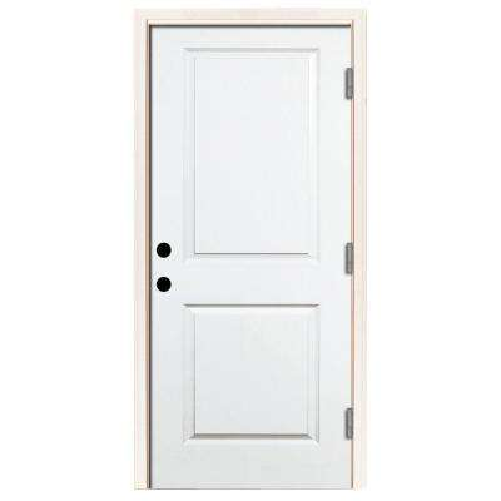 Premium 2-Panel Square Primed Steel Prehung Front Door