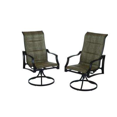 statesville padded sling swivel patio dining chair 2 pack - Hampton Bay Patio Chairs