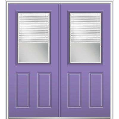 64 in. x 80 in. Internal Blinds Left-Hand Inswing 1/2-Lite 2-Panel Clear Painted Fiberglass Smooth Prehung Front Door