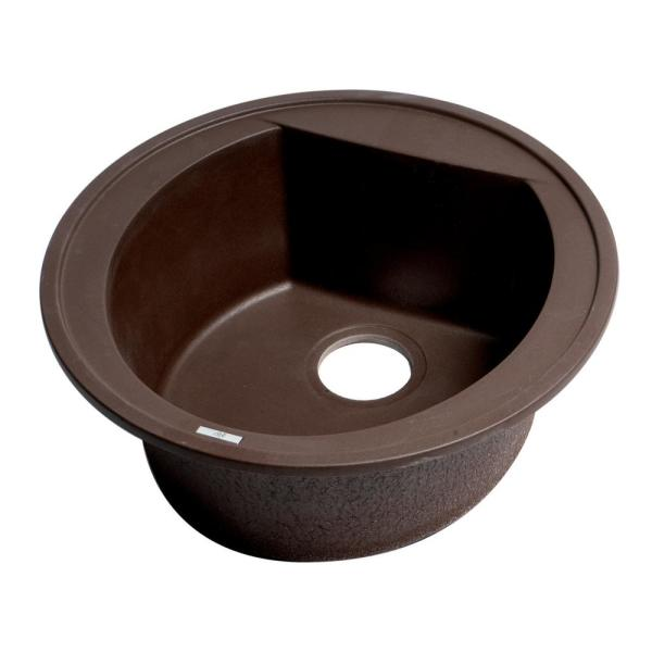 Drop-In Granite Composite 20 in. 1-Hole Single Bowl Kitchen Sink in Chocolate