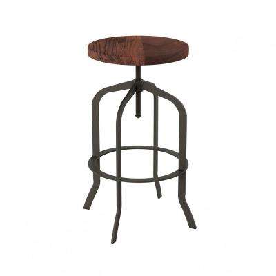 32.75 in. Adjustable Modern Backless Metal Swivel Bar Stool with Wooden Seat
