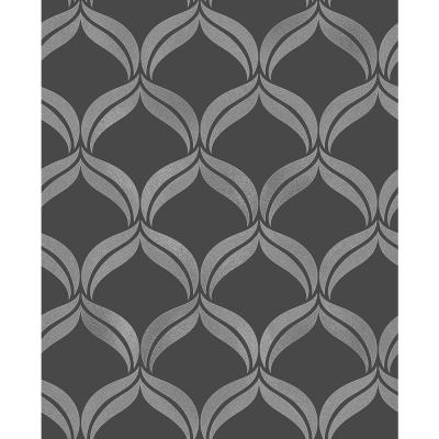 56.4 sq. ft. Wentworth Geo Black Ogee Wallpaper