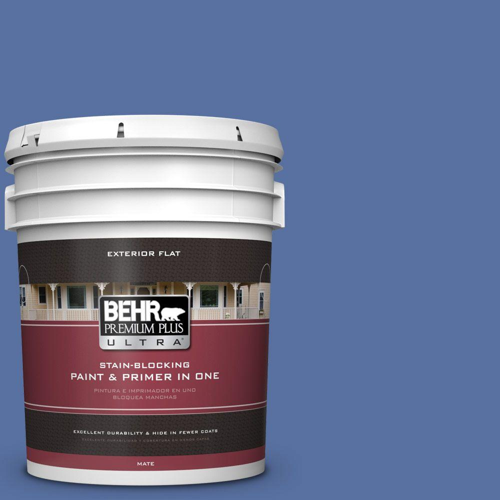 BEHR Premium Plus Ultra 5-gal. #PMD-23 Cobalt Flame Flat Exterior Paint