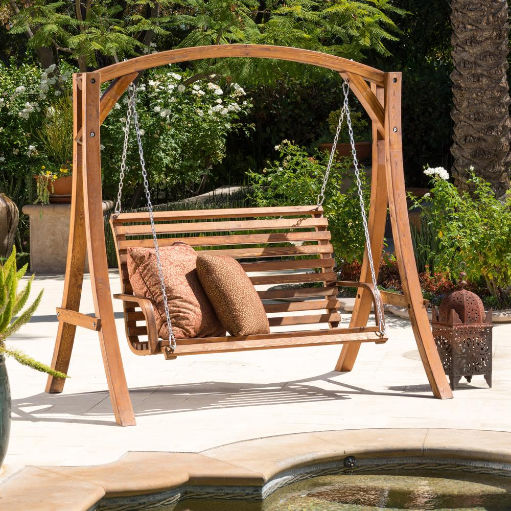 2-person teak stained Wood Patio Swing - Noble House Tulip 76in. 2-person Teak Stained Wood Patio Swing