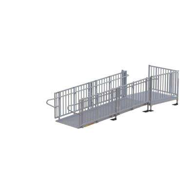 Titan 12 ft. Aluminum Commercial Modular Ramp with Platform and Handrails