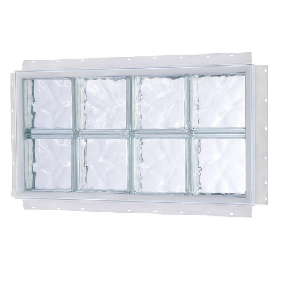 TAFCO WINDOWS 32.5 in. x 24.5 in. NailUp Wave Pattern Solid Glass Block Window
