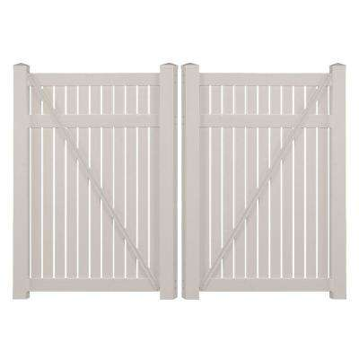 Hanover 8 ft. W x 5 ft. H Tan Vinyl Pool Fence Double Gate
