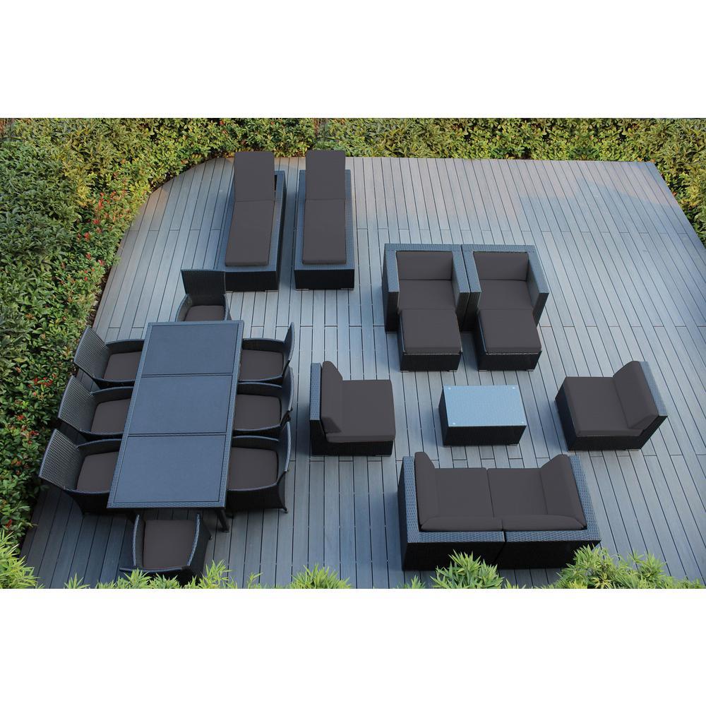 Ohana Depot Black 20-Piece Wicker Patio Combo Conversation Set with Sunbrella Coal Cushions