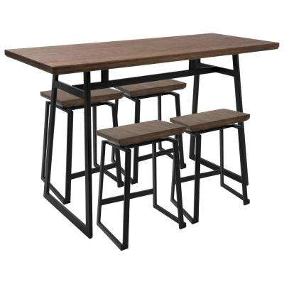 Attractive Geo 5 Piece Black And Brown Counter Height Dining Set