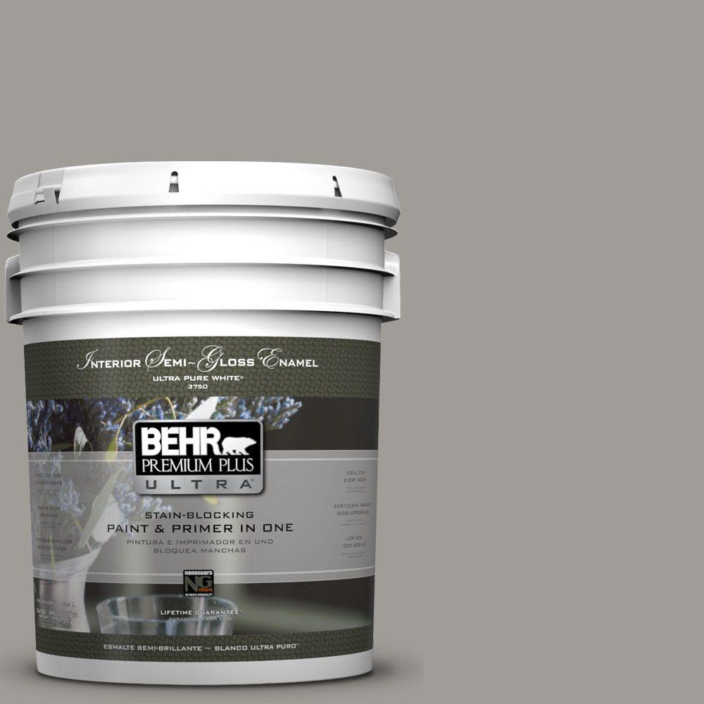 BEHR Premium Plus Ultra 5-gal. #BNC-17 Casual Gray Semi-Gloss Enamel Interior Paint