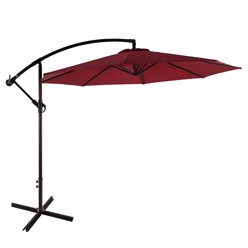 Bayshore 10 ft. Cantilever Hanging Patio Umbrella in Red