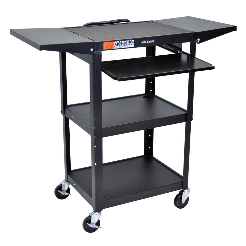 Adjustable Height 24 in. Steel A/V Cart with Pullout Shelf and