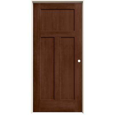36 in. x 80 in. Craftsman Milk Chocolate Stain Left-Hand Solid Core Molded Composite MDF Single Prehung Interior Door