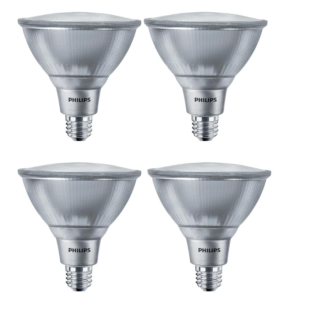 Philips 120 Watt Equivalent Par38 Dimmable Led Classic Glass Flood Bright White 3000k 4 Pack